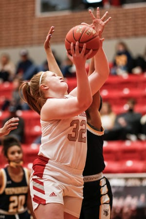 Glen Rose's Jeana Douglas, seen here in action against Stephenville earlier in the year, is one of five Lady Tigers to play the final game of their careers at Tiger Arena on Friday.