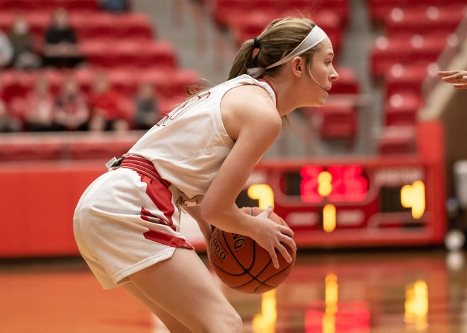 Glen Rose's Zaidey Mills, seen here in action against Stephenville earlier in the year, is one of five Lady Tigers to play the final game of their careers at Tiger Arena on Friday.