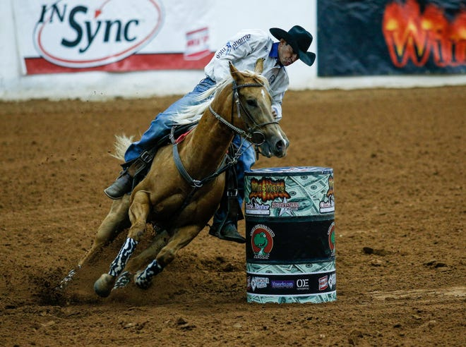Joao Leao, riding Harley's Moon Steppin', carded the time of 15.413 seconds during Sunday's The Richest Dinosaur barrel racing event held Jan. 28-31 at the Somervell County Expo Center.