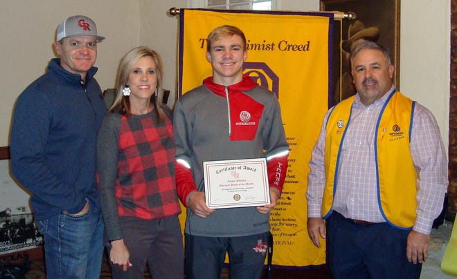 Glen Rose High School senior Austin Worthen was recognized as a high school youth of the month by the Glen Rose Optimist Club.