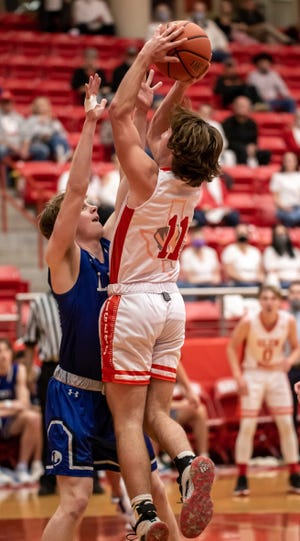 Glen Rose's Kanyon Keese goes up for a shot against Lampasas on Tuesday night.