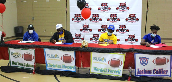 Donaldsonville's (left to right) Rae'land Johnson, Christian Howard, Wardell Forcell and Josh Collier signed with colleges on National Signing Day.