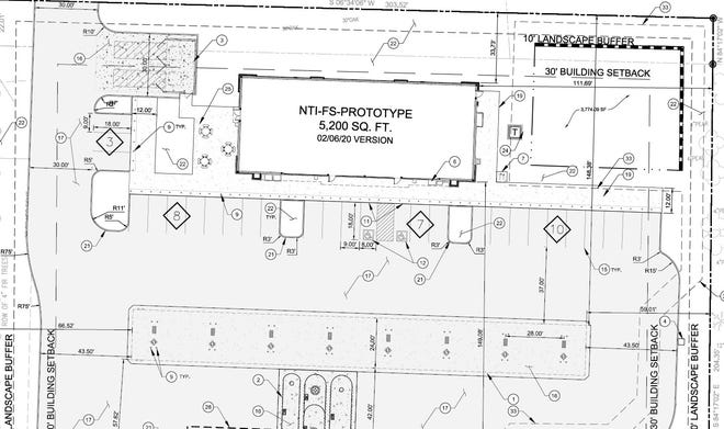 The site plan for a future Circle K gas station and convenience store in Mills River shows the building will be 5,200 square feet.