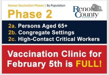 Reno County's Feb 5 COVID-19 vaccination clinic is full.