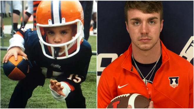 At left, a young Lucas Althaus is dressed in Illinois football gear while at a game. At right, now a senior for the Cambridge Ridgewood co-op, Althaus will be a preferred walk-on this fall for Illinois.