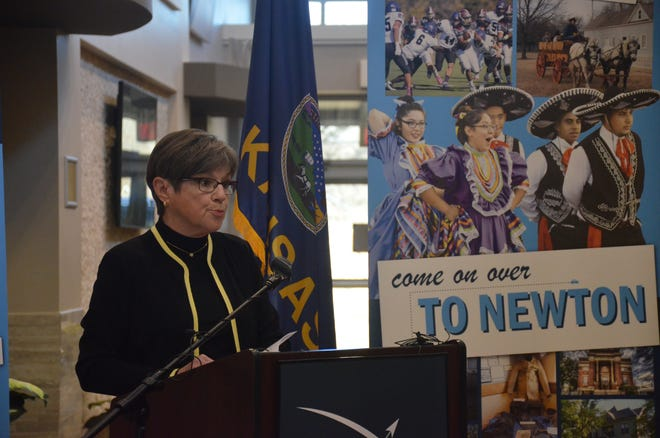 Gov. Laura Kelly announced the distribution of transportation funds from the CARES Act on Thursday at the Meridian Center in Newton.