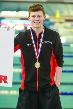 Coronado senior Rhett Hensley, pictured here after a first-place finish at the Region I-5A swimming and diving championships, was the Class 5A runner-up in 1-meter diving Saturday at the UIL state championships in San Antonio.