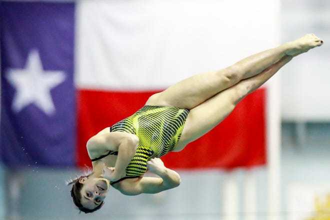 Lubbock High's Alyssa Britt dives during the Region I-5A diving championships Feb. 4 at the Pete Ragus Aquatic Center.