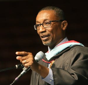Lakeland City Commissioner Phillip Walker gives the Keynote Address during the Keiser University's 2014 graduation commencement ceremony at The Lakeland Center Friday night. June 6, 2014.