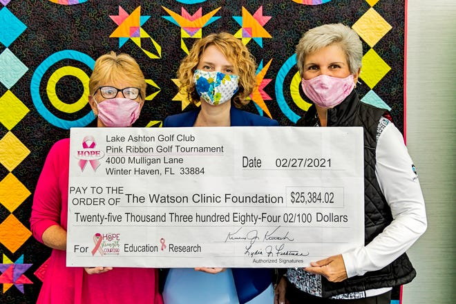 The Lake Ashton Golf community's Pink Ribbon Golf Tournamentraised $25,384 for the Watson Clinic Foundation. Pictured left to right: Kimberly Kutsch, co-chair Pink Ribbon Golf Tournament; Dr. Galina Vugman, resident, Watson Clinic Foundation; Lydia Fichtman, co-chair Pink Ribbon Golf Tournament.