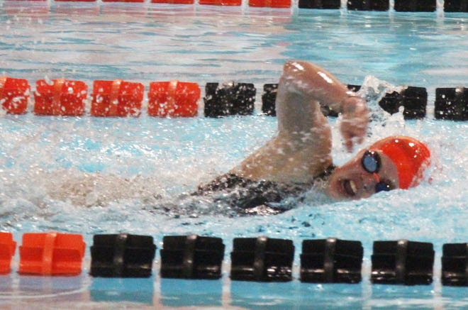 Grace Gardner of the Arkansas Valley Swim Team competes in the 100-meter freestyle in Wednesday's virtual meet with St. Mary's Academy. Gardner qualified for the state meet in this event as well as the 100-meter backstroke and as part of the 200-meter freestyle relay team.
