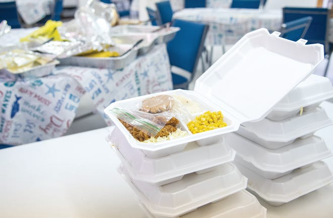 A meal is set aside and ready for delivery at Crossroads Assembly of God in Sunrise Beach.