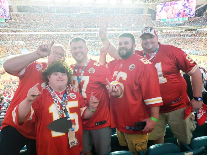 From left to right: Chuck Pryor, Dustin Pryor and his three brothers, Ryan, Devon and Donnie, celebrate the Chiefs winning Super Bowl LIV over the San Francisco 49ers on February 2, 2020, at Hard Rock Stadium in Miami.