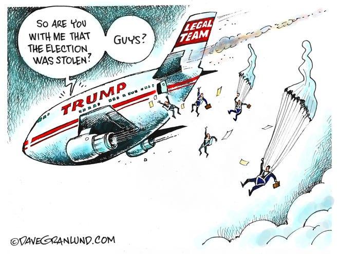 Dave Granlund cartoon on Trump lawyers bailing
