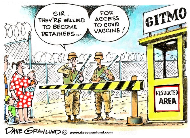 Dave Granlund cartoon on plan to vaccinate Guantanamo prisoners against COVID