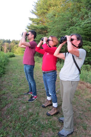 Doug Garron, Wild Birds Unlimited store manager, owner Susan Maranaho, and Laurene Hunt, the store's marketer, use binoculars to check out some birds.