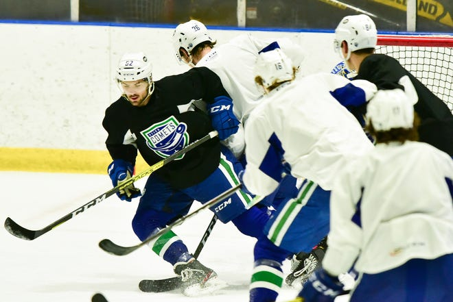 The Utica Comets run through a drill during a recent practice. The Comets have some things to work on as they get set for Saturday's game against Binghamton.