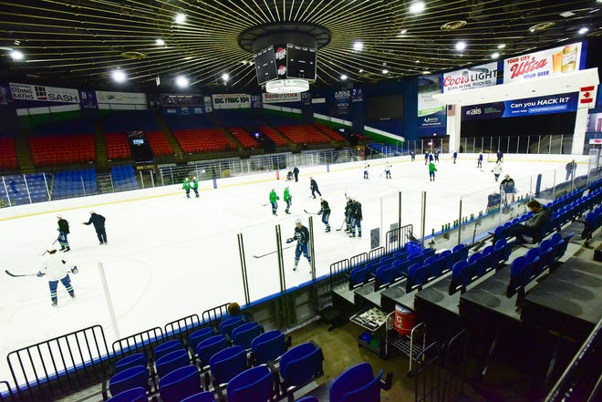 Comets players and coaches participate in practice at the Adirondack Bank Center at the Utica Memorial Auditorium.