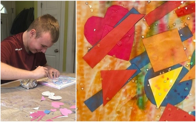 Marston Poore, 17, of Kennebunkport, sits at his kitchen table and creates the artwork for a Valentine's Day postcard that he and his mother, Jennifer, will sell online.