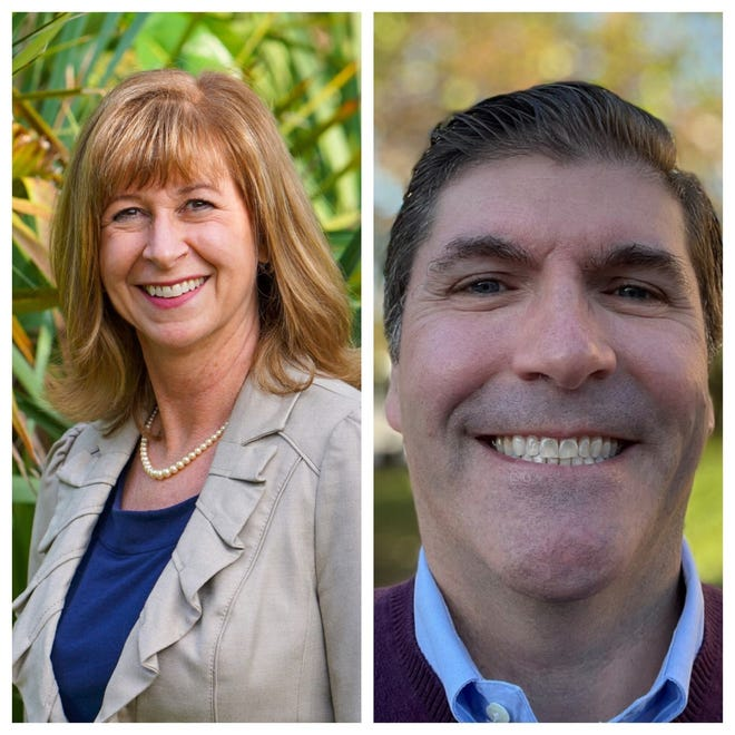 Former Palm Beach Gardens Mayor Marcie Tinsley, left, will face political newcomer Rob Nanfro for the Group 2 City Council seat vacated by Maria Marino in October.