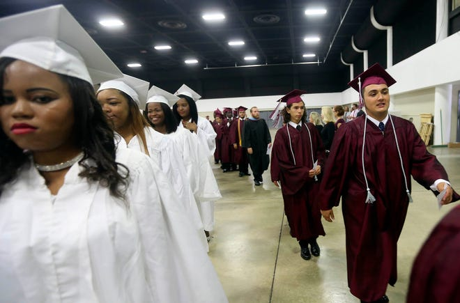 Students take part in the 2015 graduation ceremonies for Lake Worth High School at the South Florida Fairgrounds.