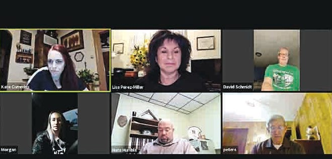 Sharing experiences and ideas about Kansas Beats the Virus virtually last Monday were (from top left clockwise) Circles Director Kate Cummings, Lisa Perez-Miller, David Schmidt, Morgan Hawkins, Pratt Chief of Police Nate Humble and Don Peters.