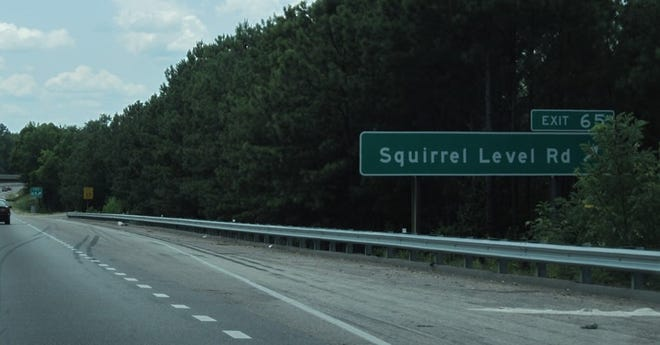 A sign pointing out he southbound on-ramp to Squirrel Level Road from Interstate 85 in Petersburg is shown in this undated photo. State police said it was on this ramp where a man and woman were shot in a car Wednesday morning by two people they had reportedly picked up in Colonial Heights, The driver of the vehicle later died at a Petersburg hospital.