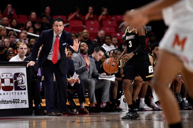Coach Jared Grasso and his Bryant Bulldogs men's basketball team will pause all activities after a player has tested positive for COVID-19. Bryant was to play Mount St. Mary's Thursday and Friday.