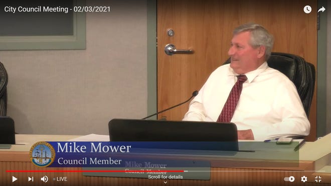 Ridgecrest City Council Member Michael Mower shares a laugh with other council members after announcing his resignation in this screenshot from the meeting Feb. 4, 2021. Mower will leave his post effective Feb. 7 after many years of city service.