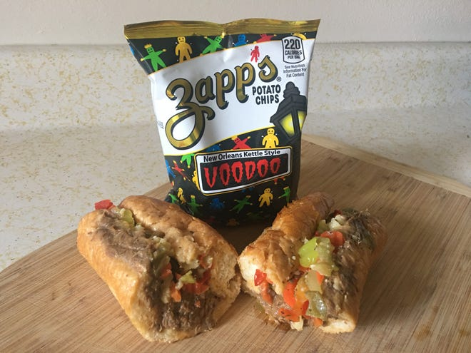 A Screamin' Jay's S.C.H.B, a slow-roasted Italian beef sub with Giardiniera peppers, pickled cherry peppers and pepperoncini.