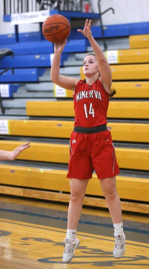 Ella Kendrick of Minerva takes a deep shot during their game at East Canton on Wednesday, Feb. 3, 2021.