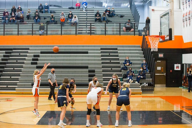 Fan access was significantly limited during the Winnebago-Sterling girls basketball game at Winnebago High School on Feb. 3, 2021, in Winnebago.