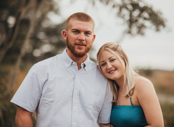 Jacob Hine and Taylor Moore. The couple will be married on Saturday, and Taylor is one of 24 workers on the COVID-19 patient-care team from the 5 Waldemere Tower unit at SMH who will be attending Sunday's Super Bowl 55 as guests of the NFL.