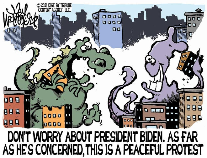 Weatherford cartoon: Peaceful protests
