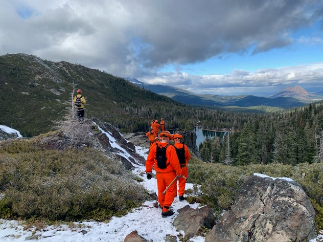 Crews work on a new trail in the Castle Crags Wilderness in December, 2020. The Wilderness Land Trust, U.S. Forest Service and Mt. Shasta Trail Association are working together on the project. Construction of the trail should be finished in spring, 2021.