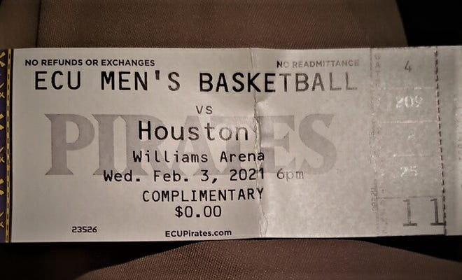 Riverside-Martin High School basketball coach Bobby Williams, an ECU alum, took a photo of his ticket from Wednesday night's upset against No. 5 Houston. He also attended ECU's last victory over a ranked team in Dec. of 2002 against a Dwayne Wade-led Marquette team.