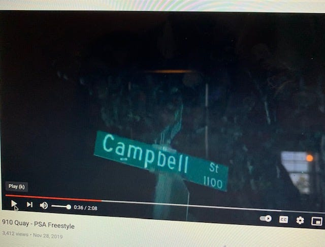 """Quaymir Conyers posted a rap video titled """"PSA Freestyle"""" under the rap name """"910 Quay"""" on Nov. 28, 2019. This is a clip of the Campbell Street sign in Wilmington taken from the video where Conyers is rapping and a few friends are on this block in the video with him. This is also the same block where Parish McNeil was fatally shot Jan. 31. Conyers is charged with first-degree murder in connection with McNeil's death."""