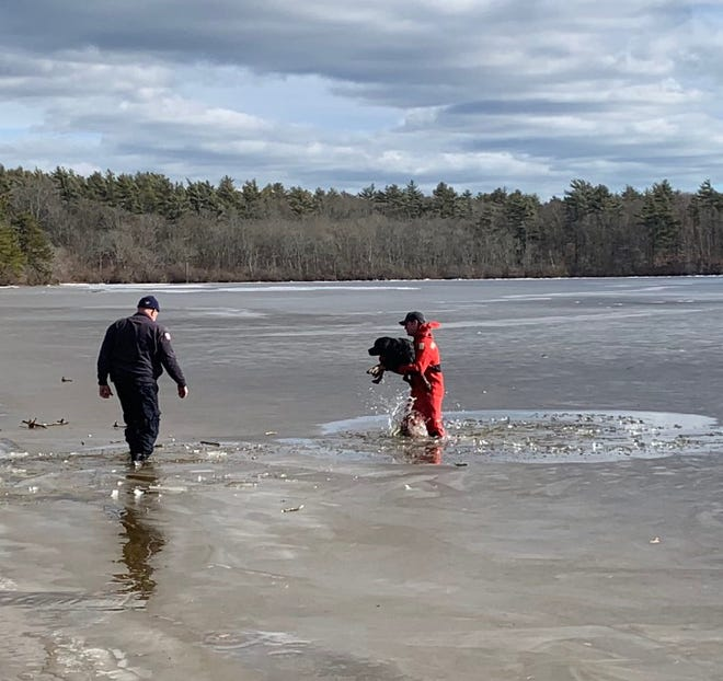 Middleborough Fire Dept. Captain Dave Taylor, left, and firefighter Patrick Murphy rescued a dog that had fallen through the ice at Great Quittacas Pond this afternoon, Feb. 4. Kane was reunited with his owner right after the ordeal and reported to be just fine.