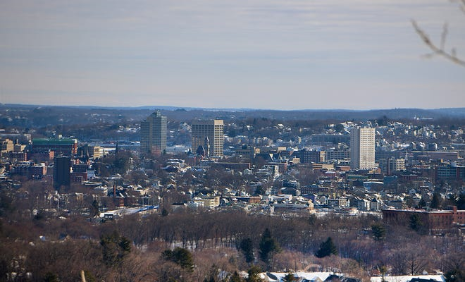 WORCESTER — A view of the city from the DPW snow yard off Goddard Memorial Drive on Thursday.