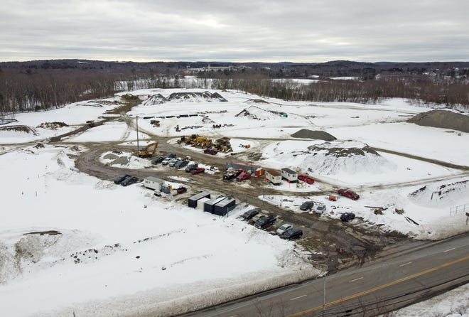 A bird's-eye view of the former Edgemere Drive-in property on Route 20 where the Edgemere Crossing at Flint Pond project is underway.