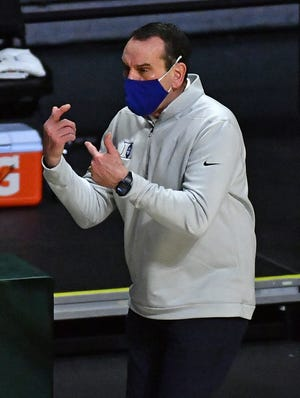 Feb 1, 2021; Coral Gables, Florida, USA; Duke Blue Devils head coach Mike Krzyzewski reacts during the first half against the Miami Hurricanes at Watsco Center. Mandatory Credit: Jasen Vinlove-USA TODAY Sports