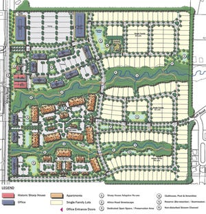 A proposed preliminary development plan by Epcon Communities and Vincent Romanelli shows 19.5 acres of commercial development, with 214,400 square feet of office space; 14.07 acres of multifamily residential, 33.33 acres of single-family residential and 21.56 acres of preserved green space.