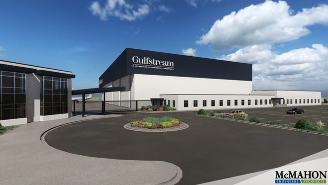A rendering of the planned expansion at Gulfstream Aerospace Corp.'s service center at Appleton International Airport in Greenville, Wis.