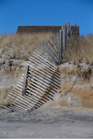 Sand dunes along the oceanfront in Bay Head took a beating from large ocean swells during the recent storm in the area.             Bay Head, NJ Thursday, February, 4, 2021