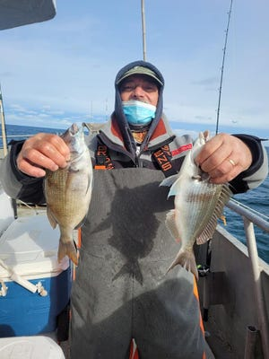 A fisherman holds a catch of two porgies on the Big Jamaica party boat on Feb. 1.