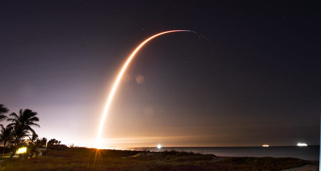 SpaceX Falcon 9 rocket lights the sky carrying 60 Starlink satellites from Cape Canaveral Space Force Station in Florida, launched at 1:19 a.m. Thursday morning.