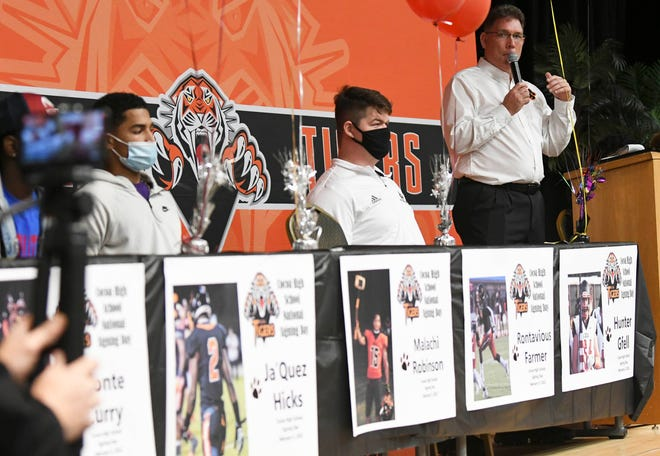 Cocoa High Athletic Director Mark Carstens addresses the crowd during National Signing Day at Cocoa High School. Craig Bailey/FLORIDA TODAY via USA TODAY NETWORK