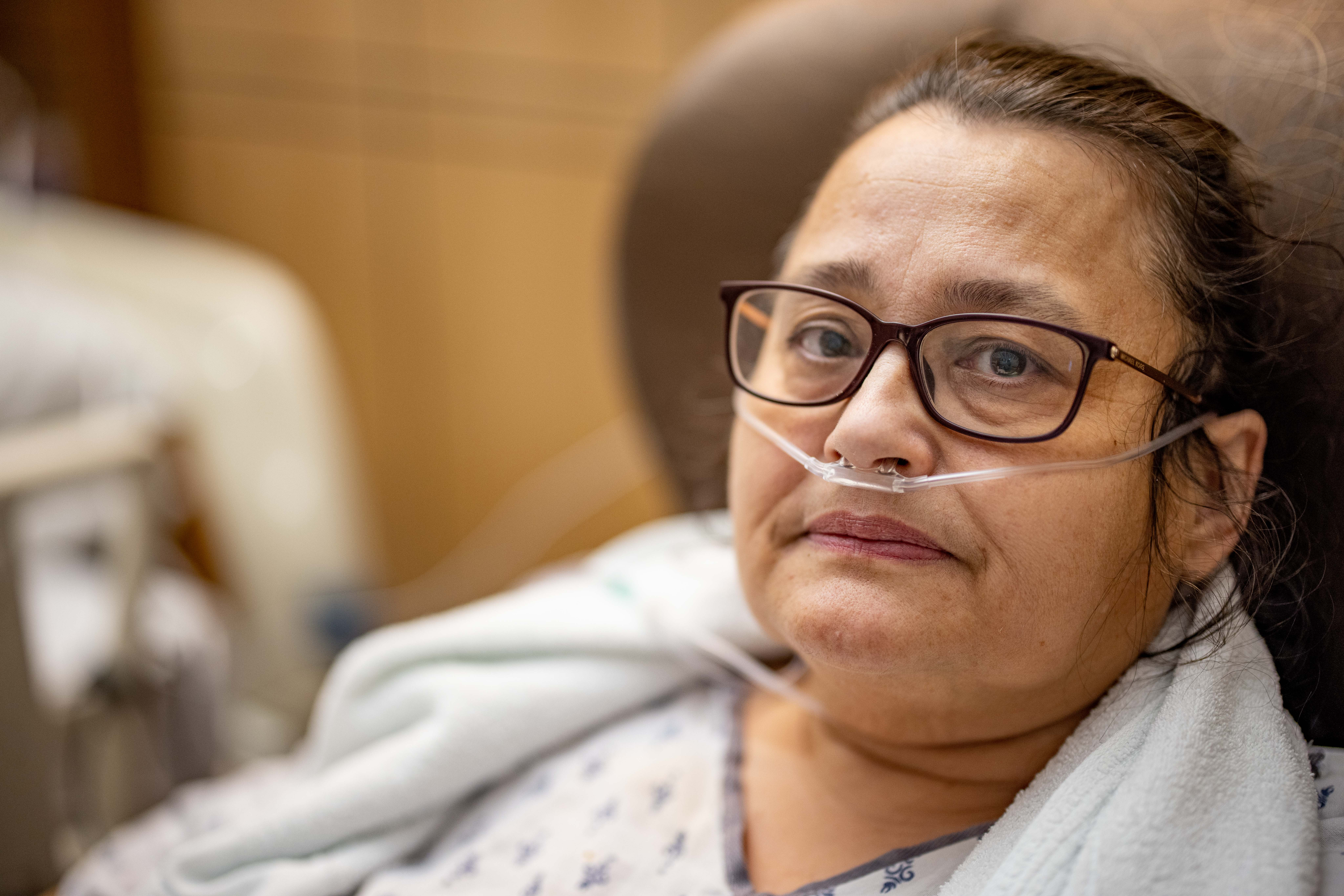 Mary Embrey rests as she recovers from COVID-19 at Mary Greeley Monday, Dec. 7.