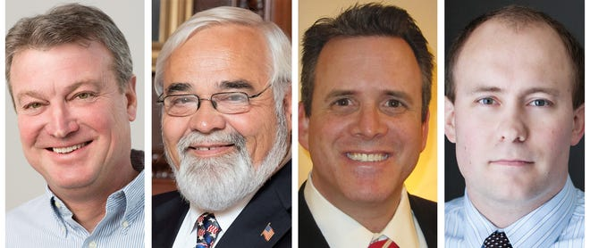 Four Republican members of the Assembly from northeastern Wisconsin, from left, Joel Kitchens, Jeffrey Mursau, David Steffen and Ron Tusler, were among seven Republicans who joined all Democrats in opposing an effort to end Wisconsin's face-mask order.