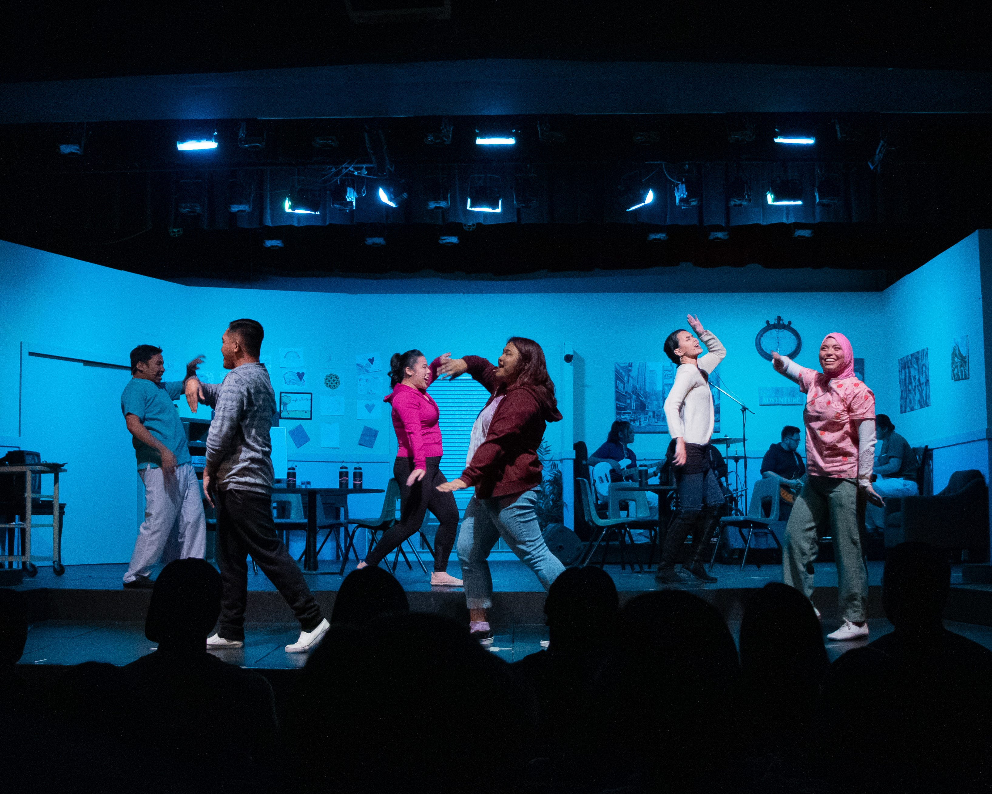 The cast of Breaking Wave Theatre Company's production of On the Inside gets their dance moves on from their September 2019 production of Unspoken; A Mental Health Anthology.